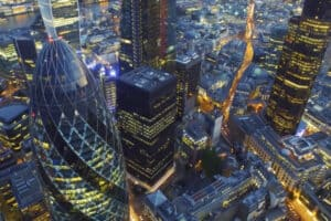 Birdseye view of London's bustling Financial district featuring the famous Gherkin